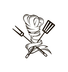 Crossed spatula fork and chef hat vector