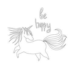 cute handdrawn unicorn vector image