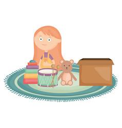 Cute little girl with bear teddy and toys box vector