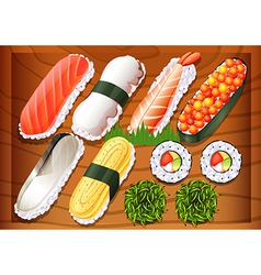 Different flavors of sushi vector image