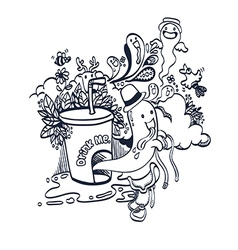 Doodle Funny Spirit of Drink for Coloring vector image