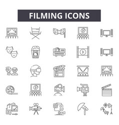 filming line icons signs set outline vector image