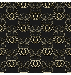 Gold pattern from curls on a black background vector image