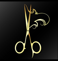 Gold scissors and lock hair vector