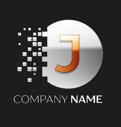 Golden letter j logo symbol in silver pixel circle vector