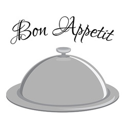 Grey tray with text bon appetit vector image