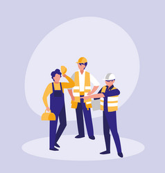 group of builders avatar character vector image
