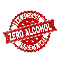 Grunge textured zero alcohol stamp seal vector