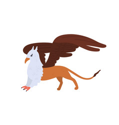 half bald eagle and lion mythical creature vector image