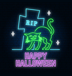 halloween neon sign or emblem vector image