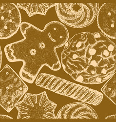 hand drawn cookie background vector image