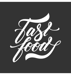 Hand lettering fast food isolated logo design vector