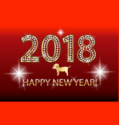 happy new year 2018 gold design vector image vector image