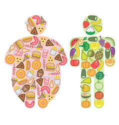 Healthy and junk food and human silhouettes vector