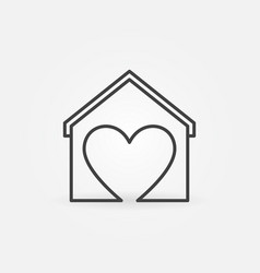 heart with house line icon stay at home vector image