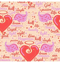 Heart with wings Design seamless vector image