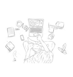 Human with laptop at home sitting on floor vector