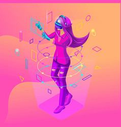 Isometric girl playing in a virtual game the teen vector