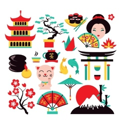 Japan symbols set vector image