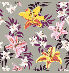 Lily flower seamless pattern on gray background vector