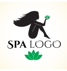 Logo for spa or beauty salon with woman vector