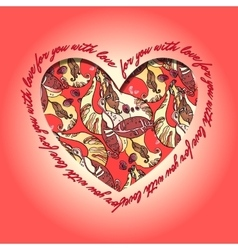 Love card Red and orange heart design with vector