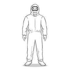 Man in protective hazard suit coloring book vector