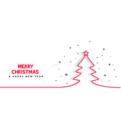 Minimal line christmas tree background vector