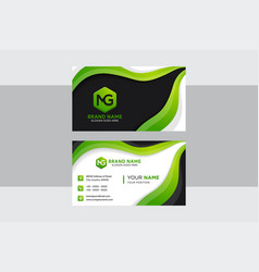 modern green and elegant business card template vector image