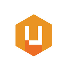 modern letter u logo orange hexagonal icon vector image