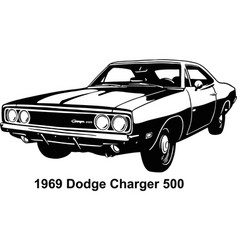 Muscle car - old usa classic car 1970s vector