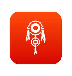 Native american dreamcatcher icon digital red vector