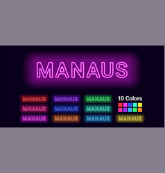 neon name of manaus city vector image
