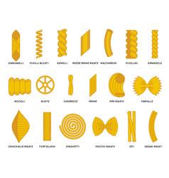noodles pasta flat outline design set icons vector image