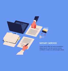notary service advertisement horizontal web vector image