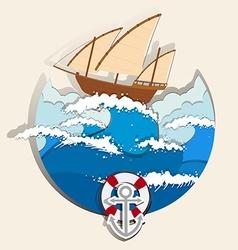 Ocean scene with sailboat vector image vector image
