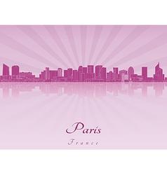 Paris V2 skyline in purple radiant vector image