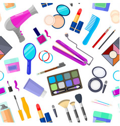 Pattern with tools for makeup vector