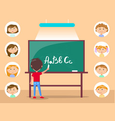person writing letters on desk school vector image