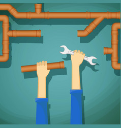 plumber holding in his hand wrench and water pipe vector image