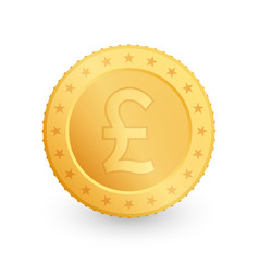 pound gold coin isolated on white background vector image