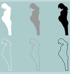 Pregnant woman white grey black icon vector