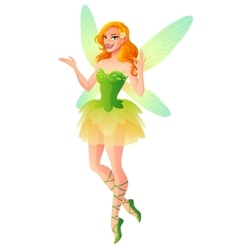 presenting fairy with wings in green dress vector image