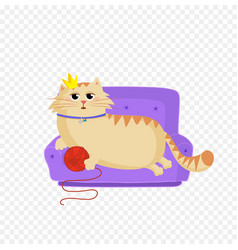 Princess cat lying on the sofa with red ball in vector