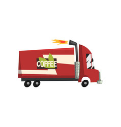 red coffee truck delivery van vector image