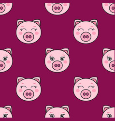 seamless pattern with cute pink pigs vector image