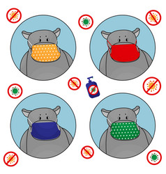 set hippos in red yellow green blue masks vector image
