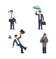 set of businessman in different weather vector image