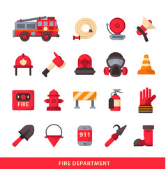 Set of designed firefighter elements coloured fire vector