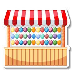 Sticker template with balloon pop dart game vector